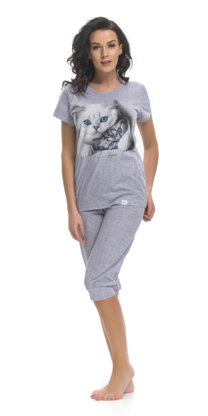 Piżama damska dn-nightwear Kitty PM.9200 Light Grey