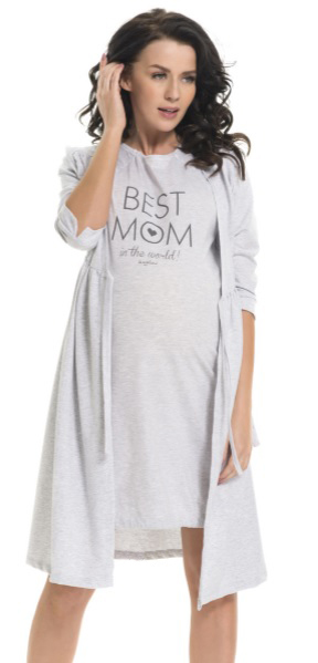 Szlafrok damski dn-nightwear Best Mom SBL.2053/ SBL.9243 Grey Melange