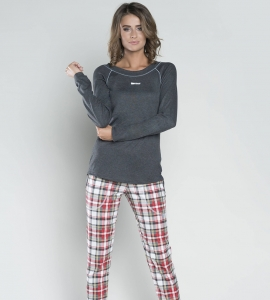 27568e4a21ca43 Piżama damska Italian Fashion ROMINA dł.dł. c.melanż