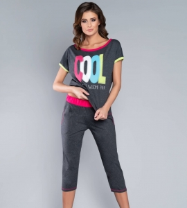 98652ea98b98ce Piżama damska Italian Fashion COOL kr.3/4 c.melanż