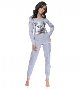 Piżama damska dn-nightwear Kitty PM.9094 Light Grey