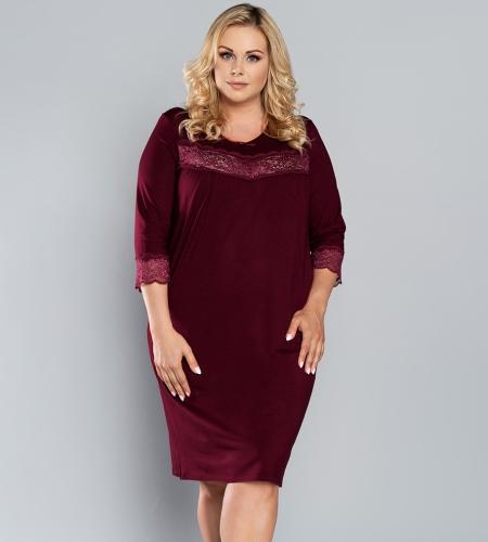 Koszula nocna Italian Fashion IZYDA ręk.34 bordo MissiSleepy.pl  8lRKC