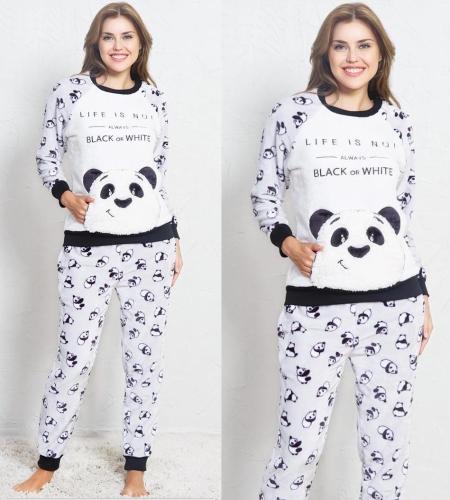 90fa5bc9e559e5 Piżama damska Vienetta Secret ciepła Panda 3369 MissiSleepy.pl