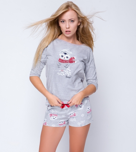 3c3165f3a57403 Piżama damska Sensis Snowy Owl. Piżama świąteczna z sówką