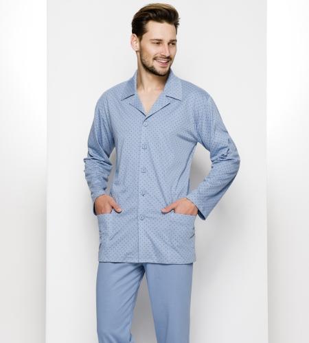 d54c1e39ccc2 Piżama męska Regina 265 1 niebieski. Rozpinana piżama męska