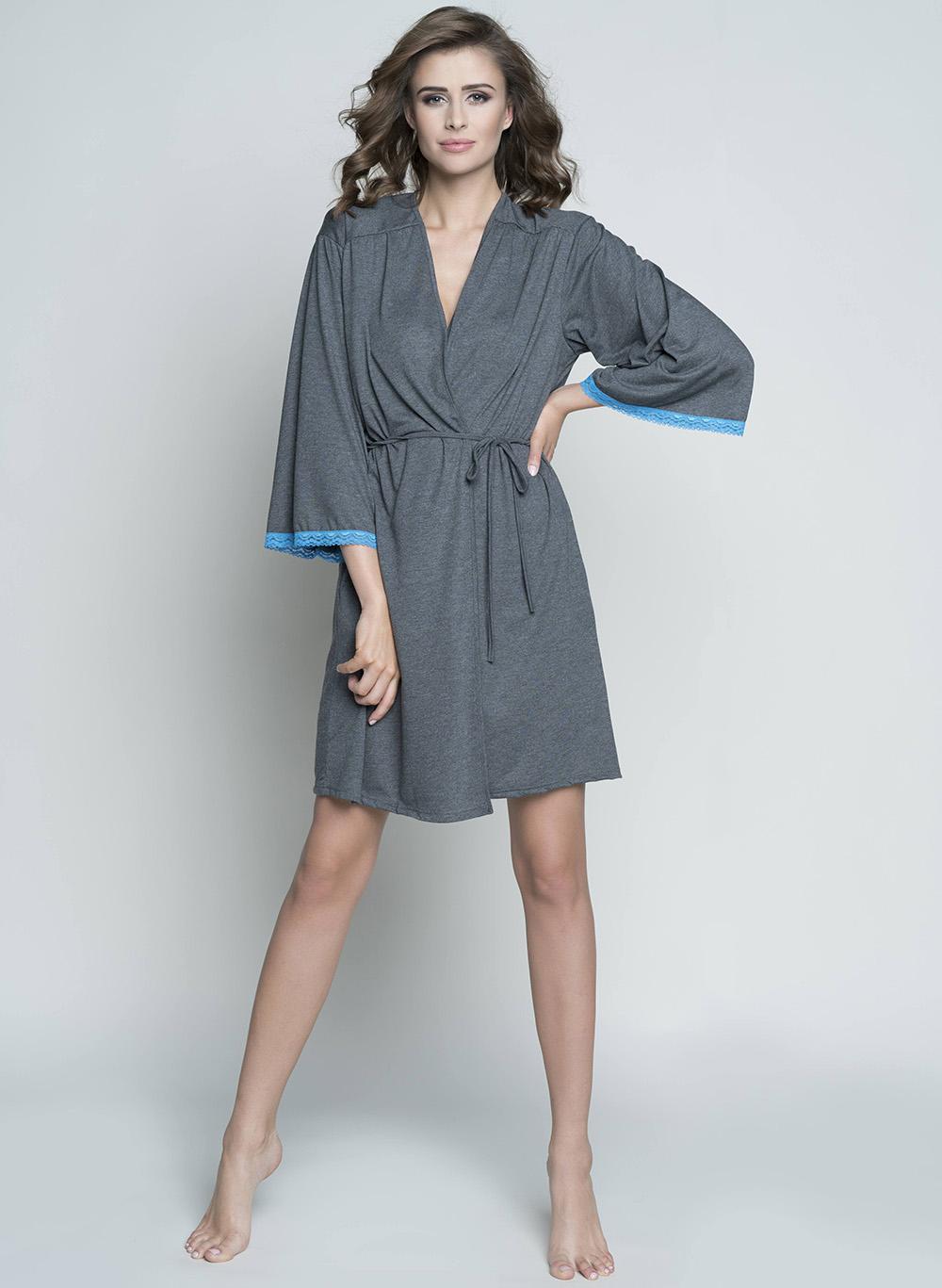 12f19b43be3942 Szlafrok damski Italian Fashion ELLEN ręk.3/4 turkus MissiSleepy.pl