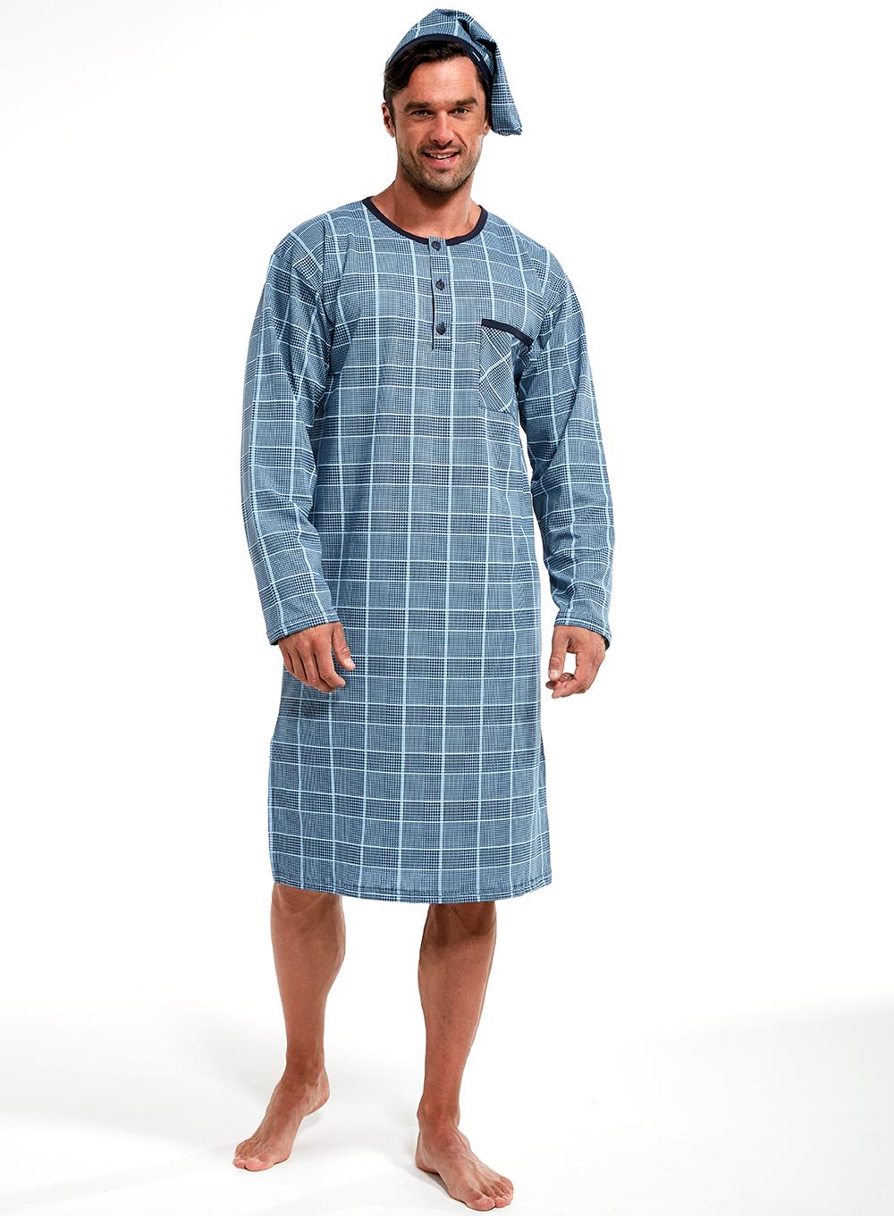 Koszula nocna męska Cornette 110640802 niebieska MissiSleepy.pl  XIoq0